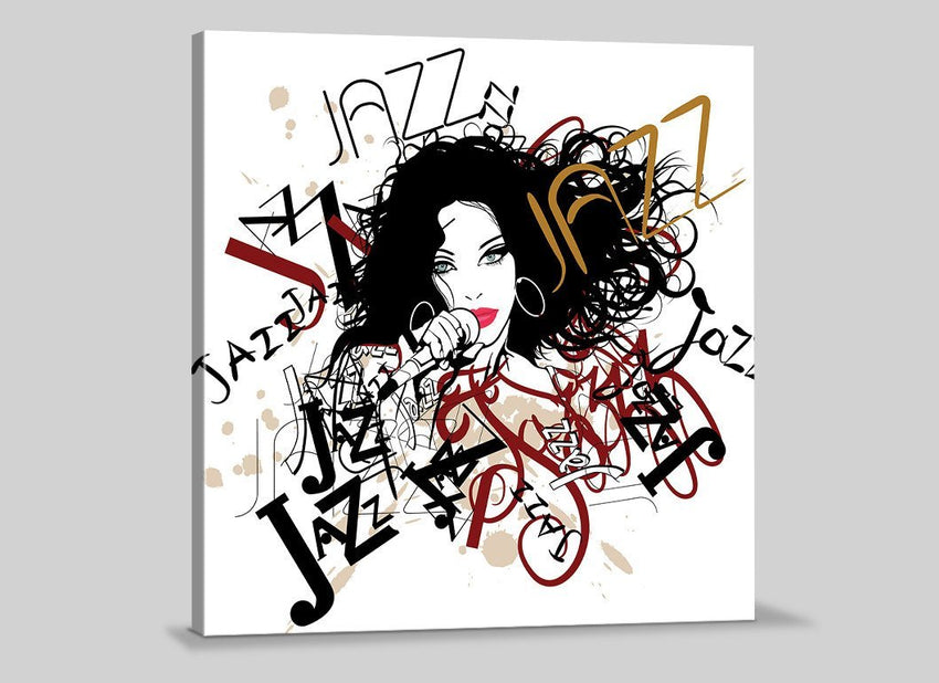 Canvas Prints Type Jazz | Singer Women Drawing Art Canvas | Jung Room Canvas Painting-Wall Art Canvas-Extra Large Wall Art Canvas Print-Extra Large Wall Art Canvas Print