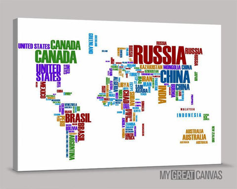 Canvas Prints Typography Colorful World Map | Wall Art Map Canvas | Large Wall Art Canvas Type World Map Painting-Wall Art Canvas-Extra Large Wall Art Canvas Print-Extra Large Wall Art Canvas Print