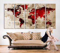 Canvas Wall Art - Blood Red Watercolor World Map on old Wall - Large Wall Art Wood World Map Art, Extra Large World Map - MC160-Wall Art Canvas-Extra Large Wall Art Canvas Print-Extra Large Wall Art Canvas Print