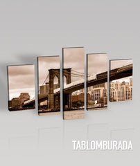 CANVAS WALL ART - Brooklyn Bridge Canvas Print + 5 Panel + Canvas Art Printing + Canvas Painting for Wall Decor-Wall Art Canvas-Extra Large Wall Art Canvas Print-Extra Large Wall Art Canvas Print