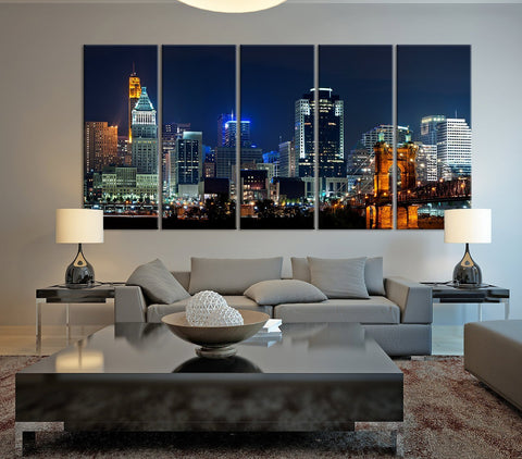Cincinnati Skyline Night light Downtown Art Canvas Print, Cincinnati Night Wall Art Canvas Print - Cincinnati Large Canvas Print - MC130-Wall Art Canvas-Extra Large Wall Art Canvas Print-Extra Large Wall Art Canvas Print