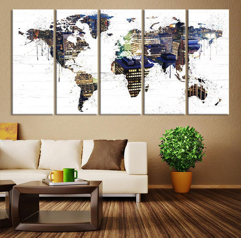 City Map Art - New York Skyline in World Map Wall Art, USA in the World Map with New York Skyline, Office Wall Art - Home Wall Art-Wall Art Canvas-Extra Large Wall Art Canvas Print-Extra Large Wall Art Canvas Print
