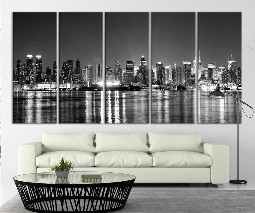 City Wall Art - New York City Night Cityscape Canvas Print, New York Skyline Wall Art Canvas Print - Black White New York Large Canvas Print-Wall Art Canvas-Extra Large Wall Art Canvas Print-Extra Large Wall Art Canvas Print