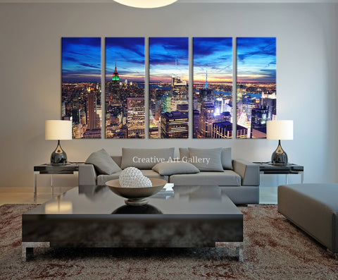 City Wall Art - New York City Skyline Navy Blue Night Canvas Print, New York Night Canvas Print - Black White New York Large Canvas Print-Wall Art Canvas-Extra Large Wall Art Canvas Print-Extra Large Wall Art Canvas Print