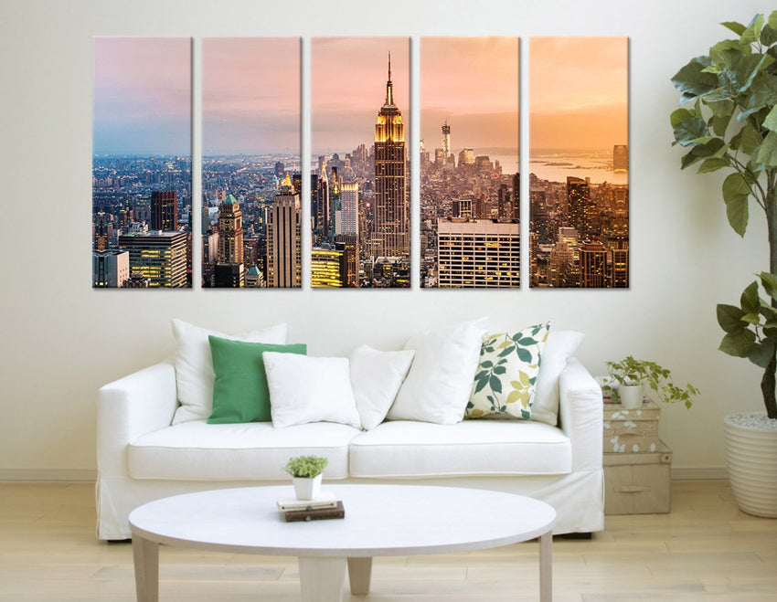 City Wall Art - New York City Sunset Canvas Print, New York Night Wall Art Canvas Print - New York City View Large Canvas Print-Wall Art Canvas-Extra Large Wall Art Canvas Print-Extra Large Wall Art Canvas Print