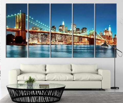 City Wall Art - New York Cityscape Canvas Print, Manhattan Bridge Night Wall Art Canvas Print - Black White New York Large Canvas Print-Wall Art Canvas-Extra Large Wall Art Canvas Print-Extra Large Wall Art Canvas Print