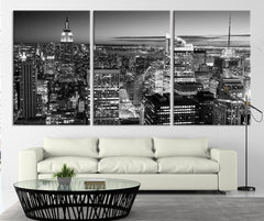 City Wall Decor - Art Print - New York City Panorama Cityscape Canvas Print - New York USA Night Black and White Large Wall Art Canvas Print - MC81-Wall Art Canvas-Extra Large Wall Art Canvas Print-Extra Large Wall Art Canvas Print