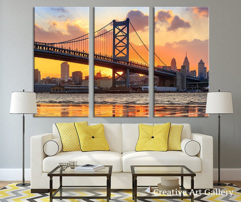 City Wall Decor - City Wall Art - Philadelphia Sunset Wall Art Canvas Print, Ben Franklin Bridge Canvas Art Print-Wall Art Canvas-Extra Large Wall Art Canvas Print-Extra Large Wall Art Canvas Print