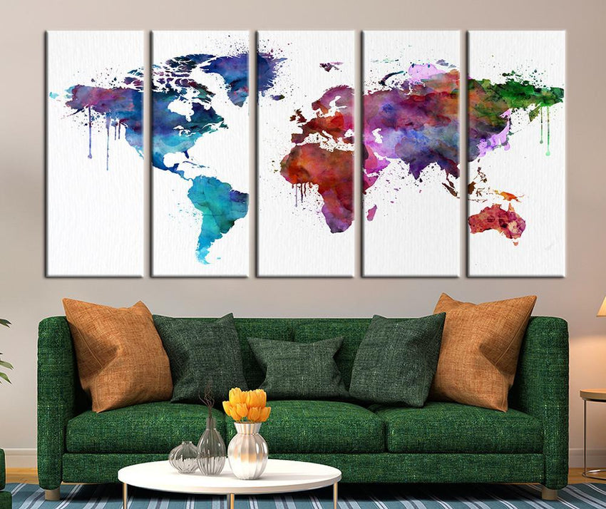 Colored Watercolor World Map Canvas Art Print, Colorfull World Map Art Print No:109-Wall Art Canvas-Extra Large Wall Art Canvas Print-Extra Large Wall Art Canvas Print