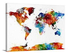Colored Watercolor World Map Canvas Wall Art, Colored World Map Wall Decor, World Map Wall Art Canvas, No:048-Wall Art Canvas-Extra Large Wall Art Canvas Print-Extra Large Wall Art Canvas Print