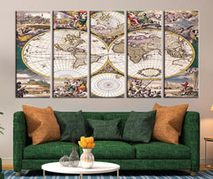 Colored World Map Ancient Canvas Art Print, Historical World Map No:085-Wall Art Canvas-Extra Large Wall Art Canvas Print-Extra Large Wall Art Canvas Print
