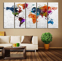 Colored World Map on the Bricks Canvas Wall Art Print, No:051-Wall Art Canvas-Extra Large Wall Art Canvas Print-Extra Large Wall Art Canvas Print