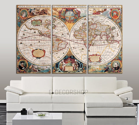 Colorful and Vintage World Map Canvas << Antique Map Canvas Print >> Ready to Hang 3 Panels Stretched on Deep 3cm Frame-Wall Art Canvas-Extra Large Wall Art Canvas Print-Extra Large Wall Art Canvas Print