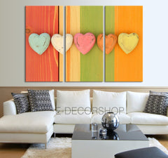 Colorful Heart on Wood Background Canvas Print-Wall Art Canvas-Extra Large Wall Art Canvas Print-Extra Large Wall Art Canvas Print