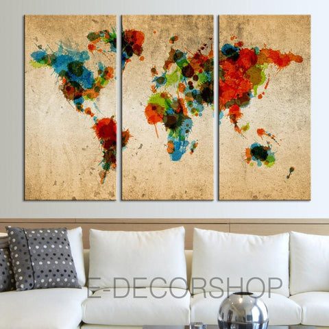 Colorful Ink Splashed WORLD MAP Art Canvas Print - 3 Piece Atlas Canvas Art Print - Vintage World Map-Wall Art Canvas-Extra Large Wall Art Canvas Print-Extra Large Wall Art Canvas Print
