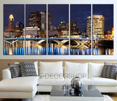 Colorful Ohio Columbus Skyline night Downtown Canvas Print - Wonderful Ohio at Night City Art Canvas - MC2343-Wall Art Canvas-Extra Large Wall Art Canvas Print-Extra Large Wall Art Canvas Print