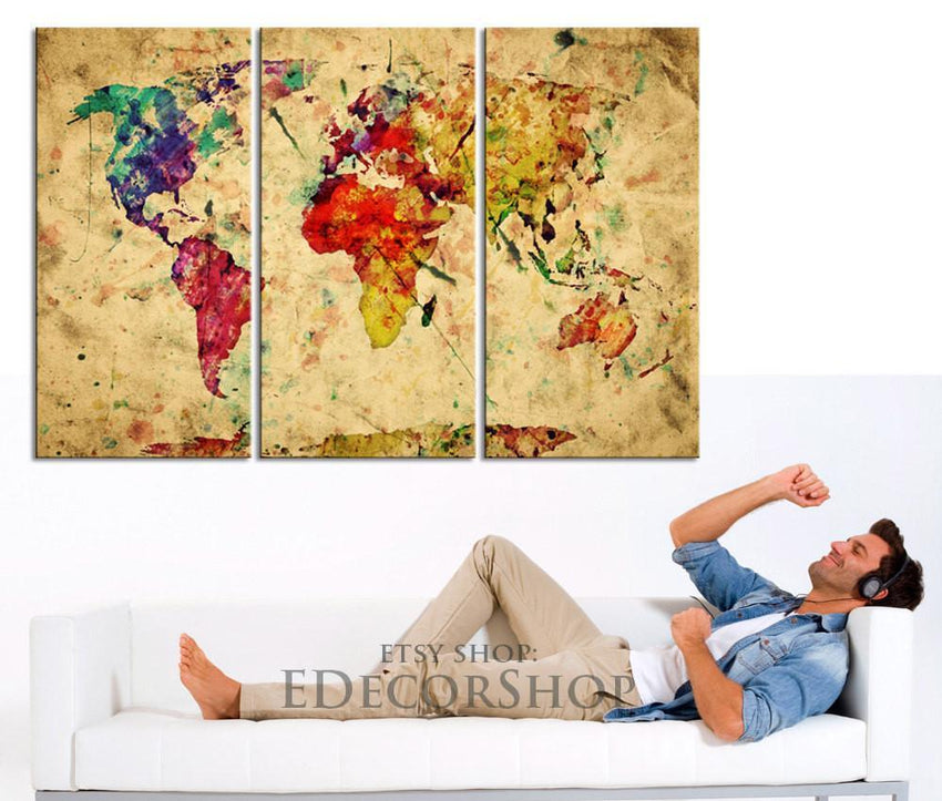 Colorful Retro World Map Canvas Art Print - Vintage World Map Canvas Triptych Printing for Home and Wall Decoration-Wall Art Canvas-Extra Large Wall Art Canvas Print-Extra Large Wall Art Canvas Print