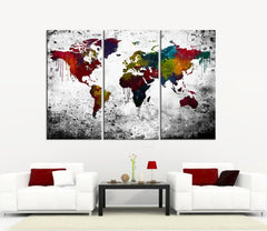 Colorful Splashed Watercolor WORLD MAP Canvas Print 3 Panel - 3 Piece Atlas Canvas Art Print - Black and Red Map - Modern World Map-Wall Art Canvas-Extra Large Wall Art Canvas Print-Extra Large Wall Art Canvas Print