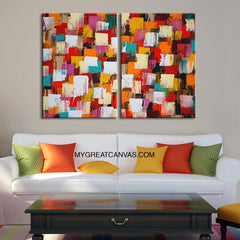 Colorful Wall Art Canvas Print | MixColor Canvas Art Print | Diptych Large Size 2 Panel Canvas Print-Wall Art Canvas-Extra Large Wall Art Canvas Print-Extra Large Wall Art Canvas Print