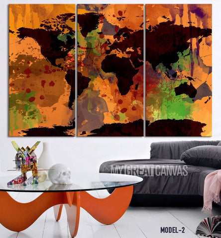 Colorful Watercolor Splashed 3 Panel Retro World Map Canvas Art Print - Vintage World Map Canvas Printing for Home and Wall Decoration-Wall Art Canvas-Extra Large Wall Art Canvas Print-Extra Large Wall Art Canvas Print
