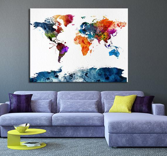 Colorful Watercolor World Map Wall Decor, Colored World Map Home Decor, MC63-Wall Art Canvas-Extra Large Wall Art Canvas Print-Extra Large Wall Art Canvas Print