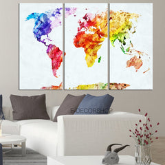 Colorful World Map Canvas Print - Contemporary 3 Panel Triptych Colorful Rainbow Colors Large Wall Art-Wall Art Canvas-Extra Large Wall Art Canvas Print-Extra Large Wall Art Canvas Print