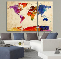 Colorful World Map Canvas Print - Contemporary 3 Panel Triptych Watercolor Colors Large Wall Art-Wall Art Canvas-Extra Large Wall Art Canvas Print-Extra Large Wall Art Canvas Print