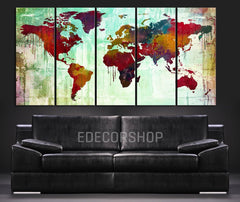 Colorful WORLD MAP Canvas Print on Colorful Wall - Ink Splash Watercolor World Map Multipanel Canvas Art Print - MC202-Wall Art Canvas-Extra Large Wall Art Canvas Print-Extra Large Wall Art Canvas Print
