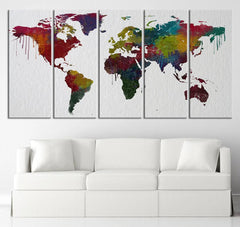 Colorful WORLD MAP on Watercolor Paper Texture Canvas Art Print - Urban World Map Country Lines Canvas Art Print-Wall Art Canvas-Extra Large Wall Art Canvas Print-Extra Large Wall Art Canvas Print
