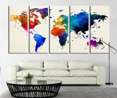 Colorful World Map with White Background Canvas Art Print, World Map on White Oceans Canvas Print No:027-Wall Art Canvas-Extra Large Wall Art Canvas Print-Extra Large Wall Art Canvas Print