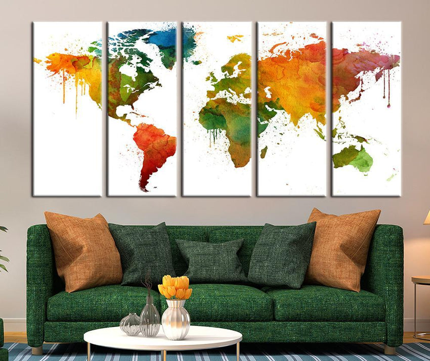 Colorfuly Watercolor World Map Canvas Art, Watercolor Colored World Map Art Print No:037-Wall Art Canvas-Extra Large Wall Art Canvas Print-Extra Large Wall Art Canvas Print