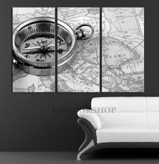Compass Art Canvas Print - Compas and Ship Map Art Canvas Print - Old Map Wall Art - MC236-Wall Art Canvas-Extra Large Wall Art Canvas Print-Extra Large Wall Art Canvas Print
