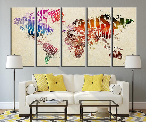 Country Names and World Map Canvas Panels, Watercolor World Map Art No:042-Wall Art Canvas-Extra Large Wall Art Canvas Print-Extra Large Wall Art Canvas Print