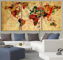 Cream Backgrounded Colorful Vintage World Map - Contemporary Triptych Ink Splash World Map Canvas Art-Wall Art Canvas-Extra Large Wall Art Canvas Print-Extra Large Wall Art Canvas Print