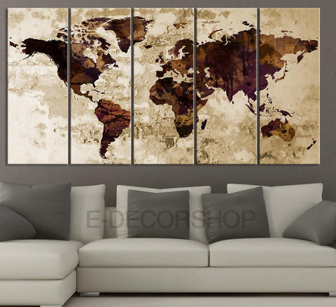 Dark Brown and Purple Retro WORLD MAP Canvas Print Sephia Art Drawing on Old Wall - World Map 5 Piece Canvas Art Print - Brown World Map-Wall Art Canvas-Extra Large Wall Art Canvas Print-Extra Large Wall Art Canvas Print