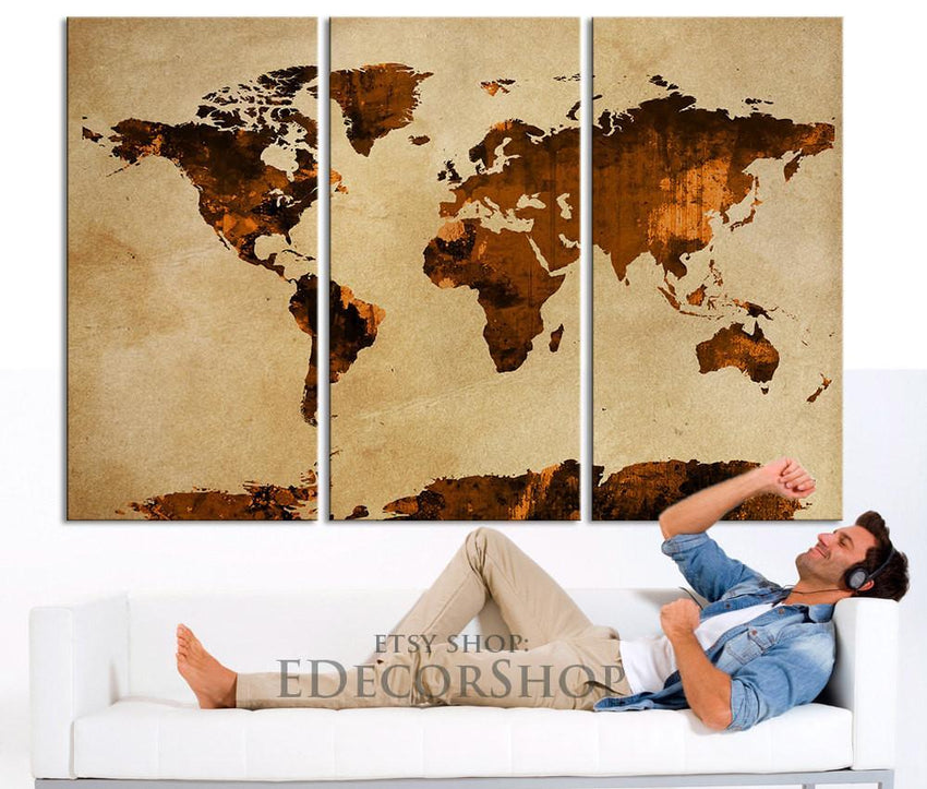 Dark Orange and Brown WORLD MAP Canvas Print on Old Wall - Vintage Large Size World Map Canvas Painting-Wall Art Canvas-Extra Large Wall Art Canvas Print-Extra Large Wall Art Canvas Print