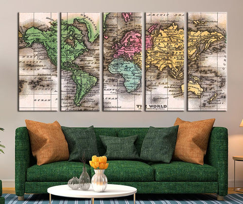 Different Colorful Countries World Map Art Print, Colorful Countries-Wall Art Canvas-Extra Large Wall Art Canvas Print-Extra Large Wall Art Canvas Print