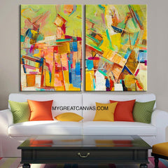 Diptych Colorful Wall Art Canvas Print | Light Green MixColor Canvas Art Print | Large Size Wall Art 2 Panel Canvas Print - MC85-Wall Art Canvas-Extra Large Wall Art Canvas Print-Extra Large Wall Art Canvas Print