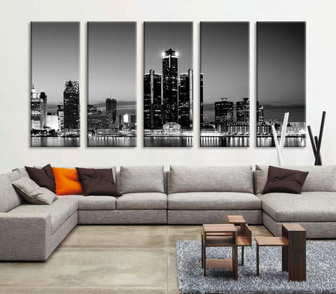 Extra Large Art - Detroit City Night Canvas Wall Art Print, Wall Art Black White Detroit Art, Extra Large City Detroit Wall Art Print-Wall Art Canvas-Extra Large Wall Art Canvas Print-Extra Large Wall Art Canvas Print