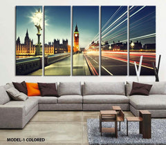 Extra Large Art - London Night Canvas Art Print, Large Wall Art Black White London City Art, Extra Large Skyline London Wall Art Print-Wall Art Canvas-Extra Large Wall Art Canvas Print-Extra Large Wall Art Canvas Print