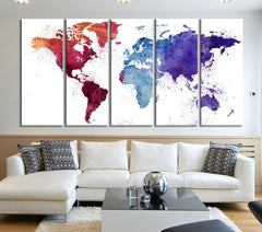 Extra Large Burgundy WORLD MAP Canvas Wall Art Print - Watercolor World Map 5 Panel Canvas Art Print - Purple World Map-Wall Art Canvas-Extra Large Wall Art Canvas Print-Extra Large Wall Art Canvas Print