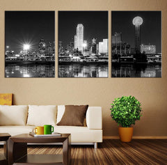 Extra Large Canvas Print - Texas Dallas Skyline Black & White Night Cityscape, Dallas Large Canvas Print, Texas Dallas City Art Canvas Print-Wall Art Canvas-Extra Large Wall Art Canvas Print-Extra Large Wall Art Canvas Print