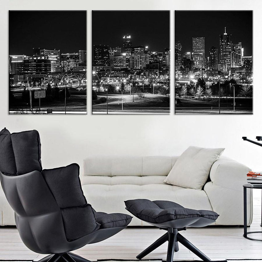 Extra Large Print - 3 Panel Denver Night Skyline Cityscape Black White, Denver Large Canvas Print, Denver Night Citiescape Art Canvas Print-Wall Art Canvas-Extra Large Wall Art Canvas Print-Extra Large Wall Art Canvas Print
