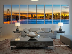 Extra Large San Francisco Skyline and Bay Bridge at Sunset, Canvas Print, Extra Large Skyline San Francisco Wall Art Print - MC124-Wall Art Canvas-Extra Large Wall Art Canvas Print-Extra Large Wall Art Canvas Print