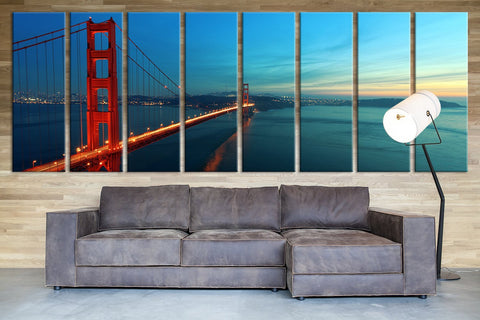 Extra Large San Francisco Skyline and Golden Gate at Sunset, California Canvas Print, Extra Large Skyline San Francisco Wall Art Print - MC238-Wall Art Canvas-Extra Large Wall Art Canvas Print-Extra Large Wall Art Canvas Print