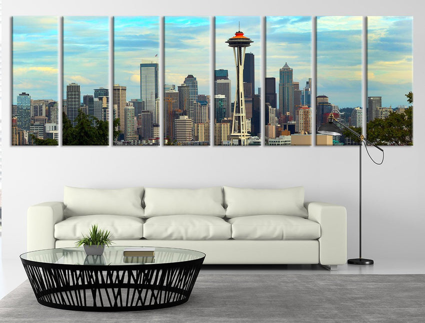 Extra Large Seattle Skyline Panorama Canvas Print, Seattle Canvas Print, Extra Large Seattle City Skyline Wall Art Print-Wall Art Canvas-Extra Large Wall Art Canvas Print-Extra Large Wall Art Canvas Print