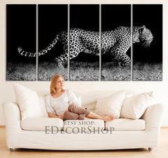Extra Large Wall Art At Night Hunting Leopard Canvas Print Framed 5 Panel Canvas | Africa Leopar Canvas Painting - MC133-Wall Art Canvas-Extra Large Wall Art Canvas Print-Extra Large Wall Art Canvas Print