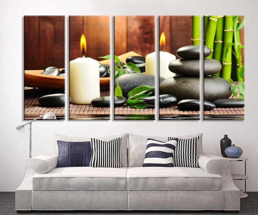 Extra Large Wall Art Bamboo and Stone, Leaves and Stones Candle Canvas Print, Zen Yoga Relax Wall Art, Massage Relax Canvas Print-Wall Art Canvas-Extra Large Wall Art Canvas Print-Extra Large Wall Art Canvas Print