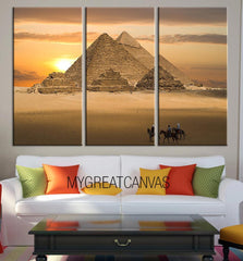 Extra Large Wall Art Canvas Egyptian Pyramids Art Canvas Print | Sunset Behind Pyramids Canvas Painting | Egypt Canvas Print-Wall Art Canvas-Extra Large Wall Art Canvas Print-Extra Large Wall Art Canvas Print