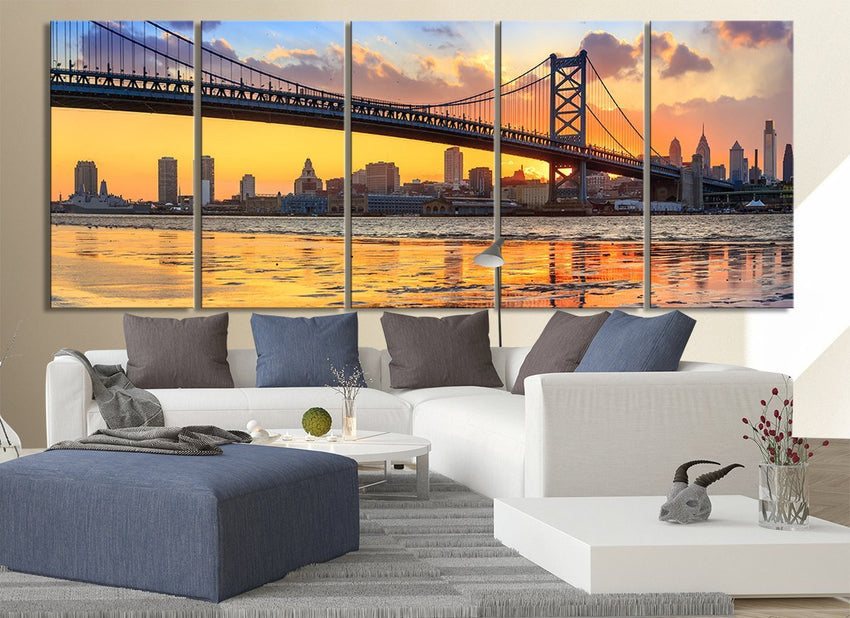 Extra Large Wall Art Canvas Print Ben Franklin Bridge and Philadelphia Skyline by Night + Philadelphia Canvas Art Printing-Wall Art Canvas-Extra Large Wall Art Canvas Print-Extra Large Wall Art Canvas Print